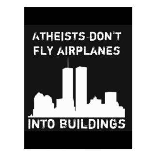 Atheisten fliegen Flugzeuge nicht in Gebäude Postkarte