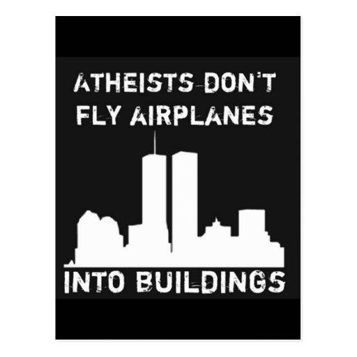 atheisten fliegen flugzeuge nicht in geb ude postkarte zazzle. Black Bedroom Furniture Sets. Home Design Ideas