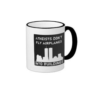 Atheisten fliegen Flugzeuge nicht in Gebäude Ringer Tasse