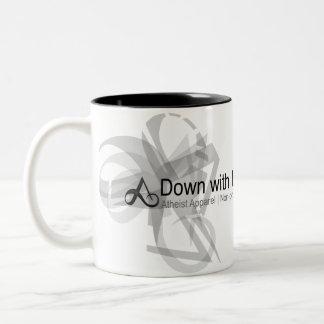 Atheistisches Kleid - unten mit Darwin-Tasse Zweifarbige Tasse