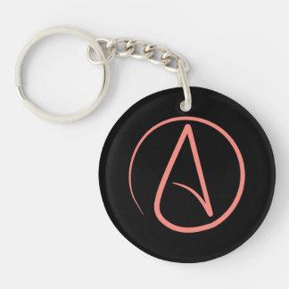 Atheistisches Symbol: Koralle auf Schwarzem Schlüsselanhänger