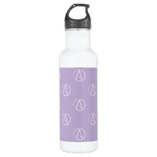 Atheistisches Symbol: Weiß auf Lavendel Trinkflasche