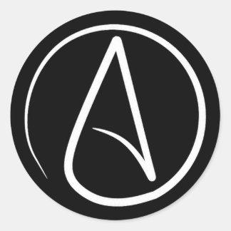 Atheistisches Symbol: Weiß auf Schwarzem Runder Aufkleber