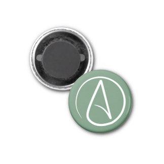 Atheistisches Symbol: Weiß auf weisem Grün Runder Magnet 2,5 Cm