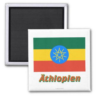 Äthiopien Dienstflagge MIT deutschem Namen Quadratischer Magnet
