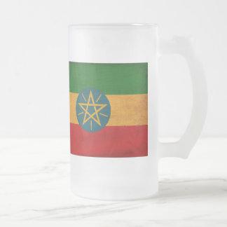 Äthiopien-Flagge Mattglas Bierglas