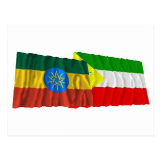 Äthiopien und somalische wellenartig bewegende postkarte
