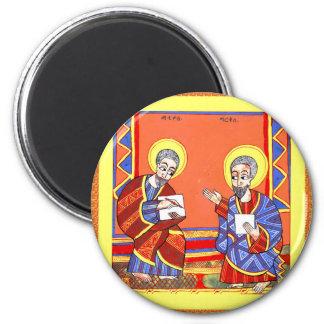 Äthiopisch-Bibel-Heilig-Luke-Heilig-John Runder Magnet 5,1 Cm