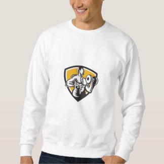 Athlet, der Kettlebell Dumbbell-Wappen-Holzschnitt Sweatshirt