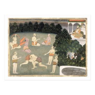 Athleten führen vor einem Sitzadligen, c.1760 Postkarte