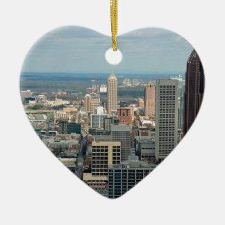 Atlanta-Skyline Keramik Herz-Ornament