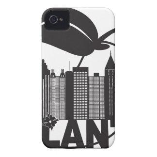 Atlantaskyline-Pfirsich-Hartriegel-Schwarz-weißer iPhone 4 Hüllen