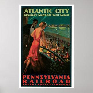 Atlantic City, New-Jersey Vintage Reise Poster