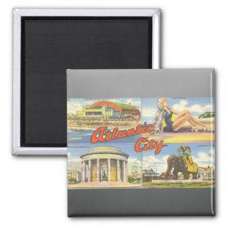 Atlantic City, Vintag Quadratischer Magnet