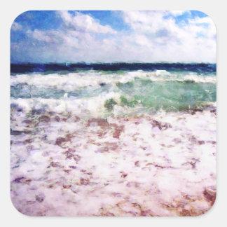 Atlantik-Wellen Quadratischer Aufkleber