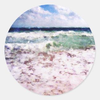 Atlantik-Wellen Runder Aufkleber
