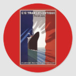 Atlantique französische Kreuzfahrt-Linie Retro Pla Runde Sticker