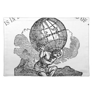 Atlas gezuckt/Schulden-Zitat Stofftischset