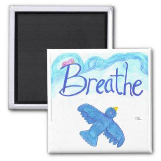 Atmen Sie mit dem Fliegen des blauen Vogelmagneten Quadratischer Magnet