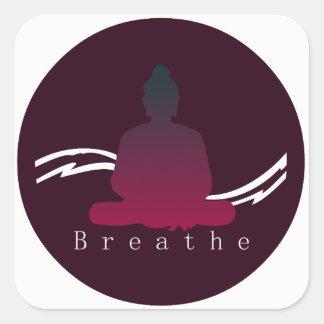 """""""Atmen Sie"""" schönen Buddha Quadratischer Aufkleber"""