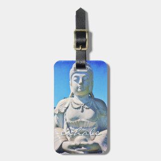 """""""Atmen Sie"""" weißes Buddha Foto Zitat-friedliches Kofferanhänger"""