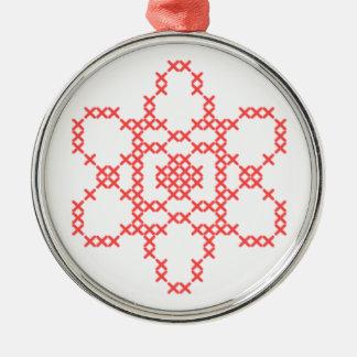 Atom-Querstich-Verzierung Rundes Silberfarbenes Ornament