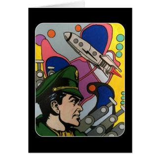 Atomarabstraktes die Rocket-Kapitänmalerei auf a Karte