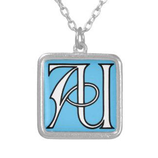 AU Monogramm Halskette Mit Quadratischem Anhänger