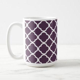 Aubergine lila Quatrefoil Kaffeetasse