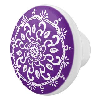 Auberginen-Mandala Keramikknauf