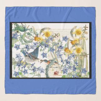 Audubon Drossel-Vogel-Blumen-Entwurfchiffon-Schal Schal