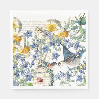 Audubon Drossel-Vogel-Blumen-Papierservietten Papierservietten