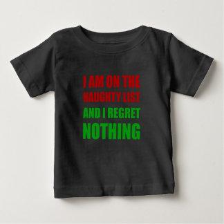 Auf dem frechen Listen-Bedauern Weihnachtssankt Baby T-shirt