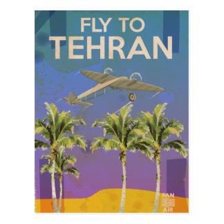 Auf dem Luftweg zum Vintagen Reiseplakat Teherans Postkarte