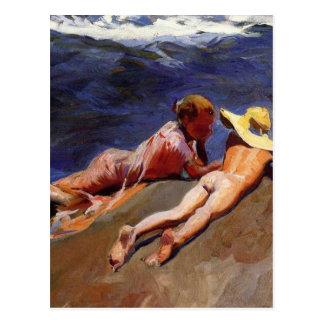 Auf dem Sand Valencia-Strand - Joaquín Sorolla Postkarte