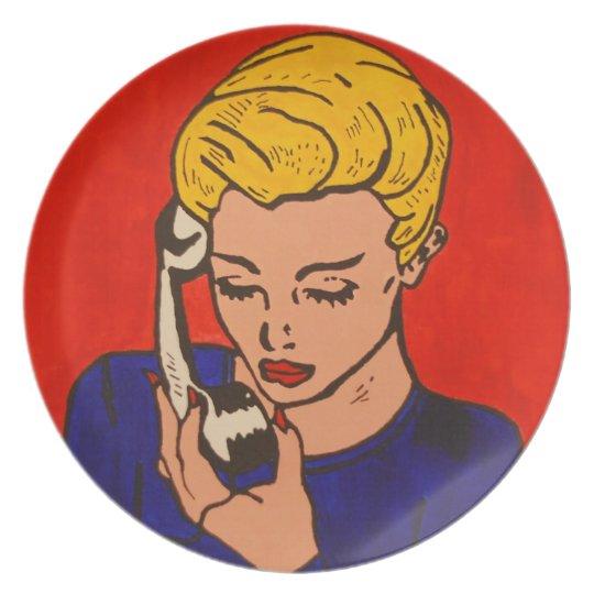 auf dem Telefon popart Melaminteller