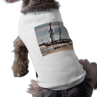 Auf den Strand gesetzter Schooner T-Shirt