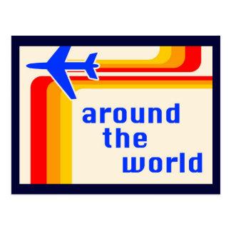 auf der ganzen Welt: Retro Streifen Postkarte
