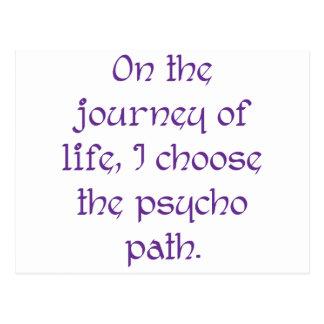 Auf der Reise des Lebens wähle ich den psychischen Postkarte