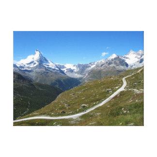 Auf der Spur Matterhorn-Ansicht, Schweizer Alpen Leinwanddruck
