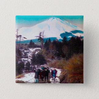 Auf einer Winter-Straße unter dem Fujisan Vintages Quadratischer Button 5,1 Cm