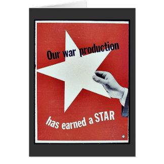 Auf Krieg hat Produktion einen Stern erworben Grußkarte