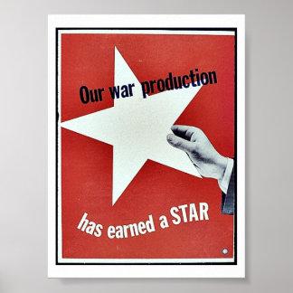 Auf Krieg hat Produktion einen Stern erworben Plakat