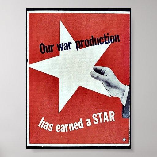 Auf Krieg hat Produktion einen Stern erworben Plakatdrucke