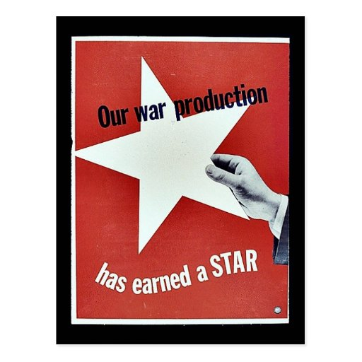 Auf Krieg hat Produktion einen Stern erworben Postkarte