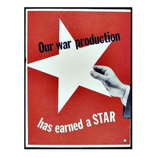 Auf Krieg hat Produktion einen Stern erworben Postkarten