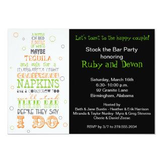 Auf Lager Sie die Bar-Flaschen-Reim-Party 12,7 X 17,8 Cm Einladungskarte