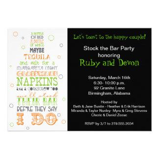 Auf Lager Sie die Bar-Flaschen-Reim-Party Individuelle Ankündigskarten