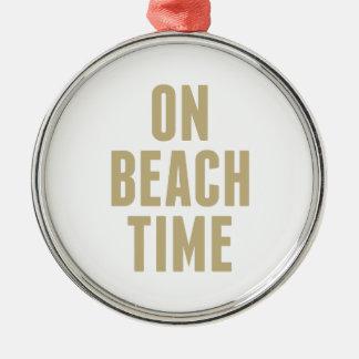 Auf Strand-Zeit Silbernes Ornament