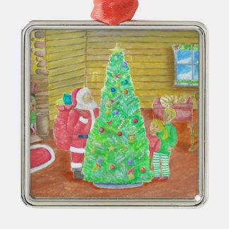 auf Weihnachtsabend Quadratisches Silberfarbenes Ornament
